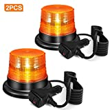 2 Pack LED Beacon Light 12V-48V Amber Warning Safety Flashing Strobe Lights with Magnetic Base and 10 FT Straight Cord for Vehicle Forklift Truck Tractor Golf Carts UTV Car Bus