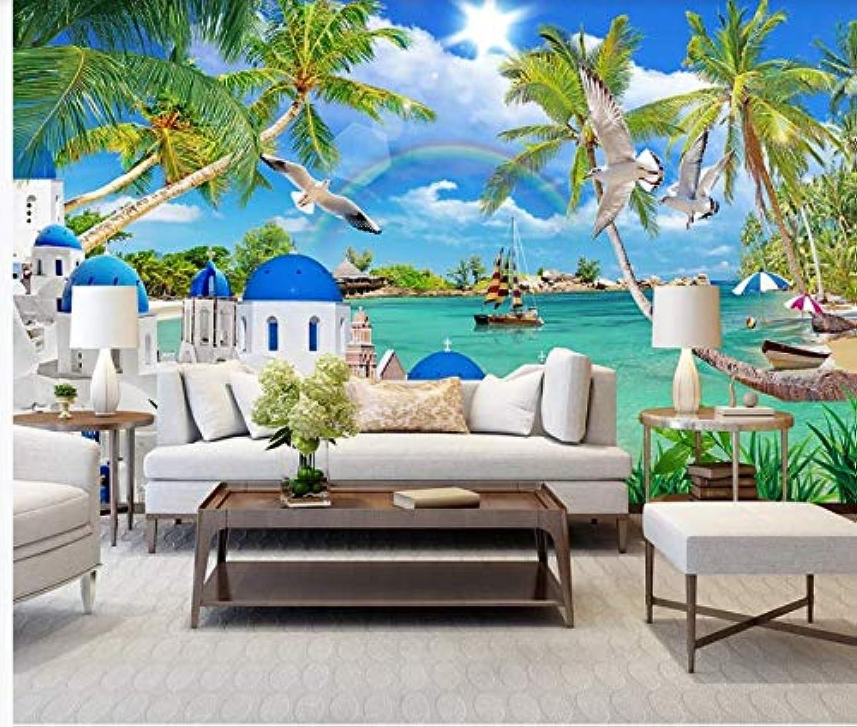 YAXIAA Hd Aegean Scenery Castle Sea Landscape Painting Tv Background Wall