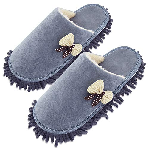 Xunlong Zapatillas de microfibra para limpieza de piso Fregona para hombres y mujeres para el polvo de la casa Zapatillas para el suelo y la suciedad, color Gris, talla 40/43 EU