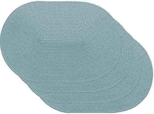 Venilia spiral blue Tischset Platzset Tischwäsche Platzdeckchen für Esszimmer gewebt Oval Muster Blau 4er Set Vinyl, lebensmittelecht, 45 x 30 cm, 4 Stück, 59115, Kunststoff