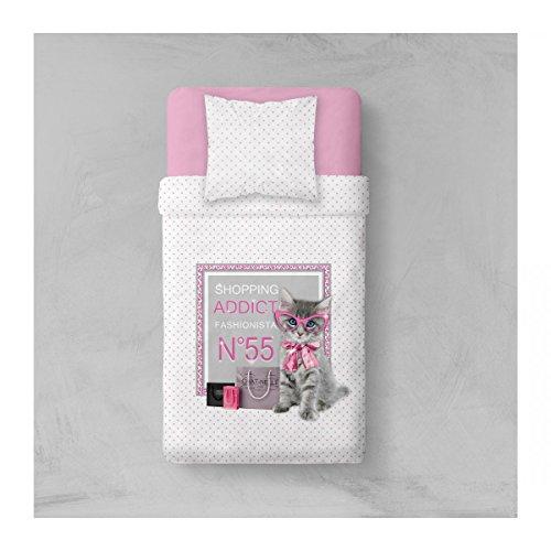 TODAY Parure de Lit Dessin Addict Cat, Polyester, Blanc/Rose, 200x140 cm