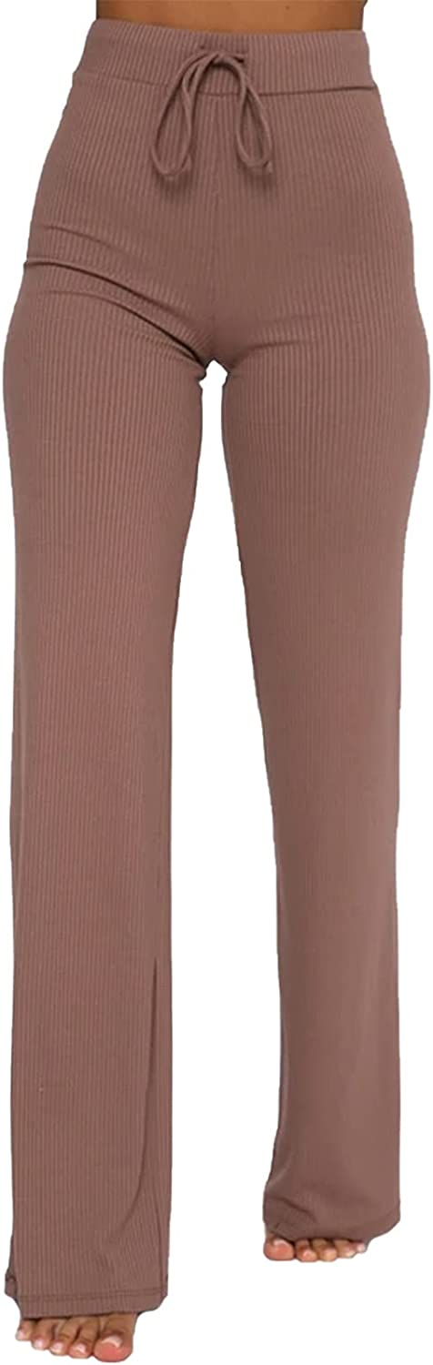 Women Knit New Orleans Mall Stretch Pants Solid Casual Leg Waist High Product Straight Tr