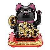tosuny gattino portafortuna solare, gatto portafortuna gatto che chiacchiera gattino carino gatto fortunato cinese sventolando il braccio porta salute, benessere e buona fortuna(nero)