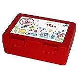 Brotdose mit Namen Tilda und 1. Klasse-Motiv zur Einschulung, für Mädchen, rot - Brotbox - Vesperdose - Vesperbox - Brotzeitdose mit Vornamen