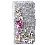 Blllue Custodia a portafoglio compatibile con Huawei P Samrt 2021, Glitter Bling Rose Flower Diamond PU Custodia in pelle per P Samrt 2021 - Argento