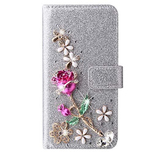 Blllue Funda de cartera compatible con Samsung A21s, 3D Rose Flower Glitter Diamond Pu Funda de cuero Flip Phone Cover para Samsung Galaxy A21s - Plata