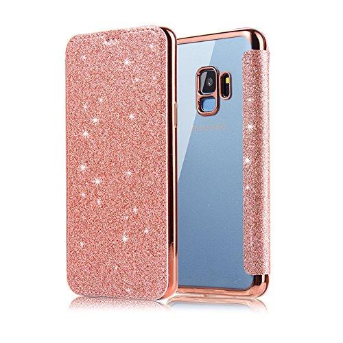 Coque pour Samsung Galaxy S9 Rose Gold, XINYIYI Housse Étui de Protection Glitter de Luxe Clapet Cuir PU avec Transparente TPU Silicone Arrière Folio Cover Fonction Stand et Fente Carte Bumper