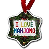 Hanging Ceramics Christmas Heart Ornaments, I Love Mahjong, Colorful, Funny Christmas Tree Decorations & Gift, Made in USA