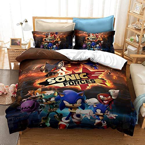 Juego de cama Sonic 3D Sonic para niños (funda de almohada) ultraligera, suave y cómoda, microfibra apta para ropa de cama de anime para niños y niñas (Snk4, 135 x 200 cm)