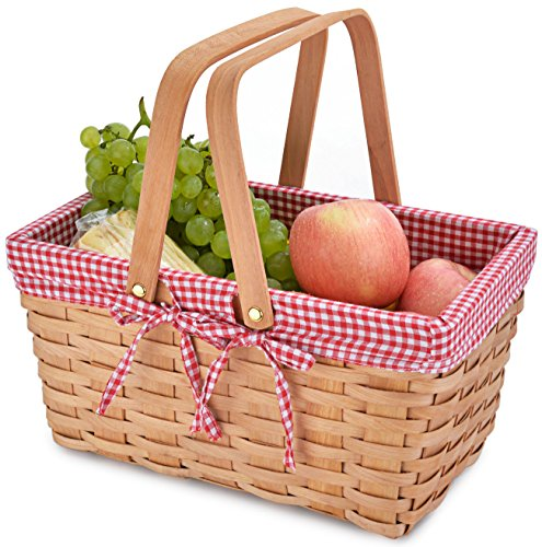 Review Picnic Basket Natural Woven Woodchip with Double Folding Handles | Easter Basket | Storage of...