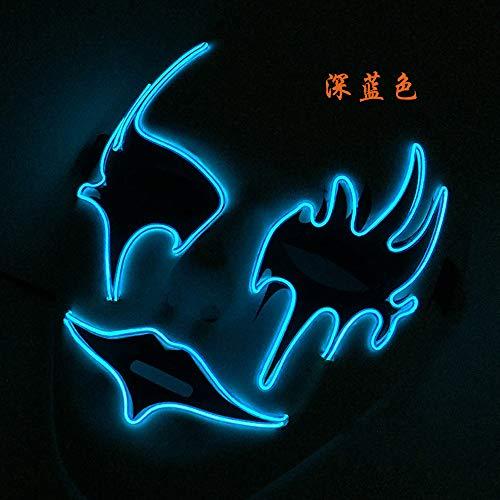 El Glow Masker Halloween Grip Masker Led Party Masker handgeschilderd masker A lichtblauw