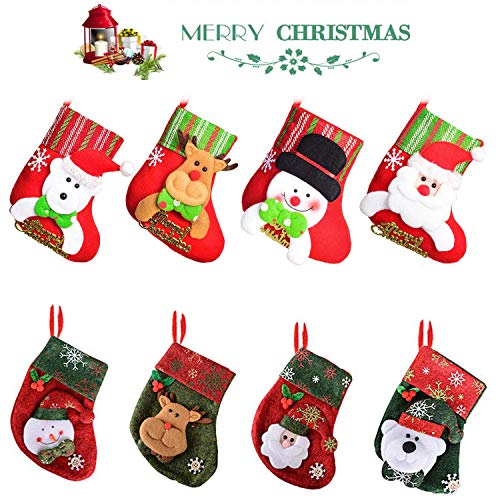 WELLXUNK 8 Stück Weihnachtsstrumpf Weihnachtssocken Klein Nikolaussocken Nikolausstrumpf Hängende Strümpfe Weihnachten Süßigkeiten Geschenk Beutel zum Befüllen und Aufhängen Weihnachtsdeko (Green)