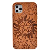 CYD Wooden Case for iPhone 11 Pro 5.8'', Natural Real Wood Engraved Supernatural Shockproof Drop Proof Slim Bumper TPU Protective Cover