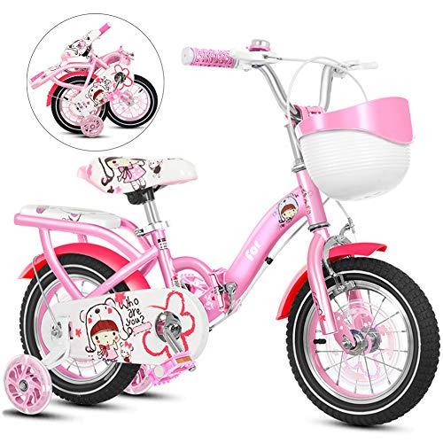 YRYBZ Bicicleta Plegable Infantil, 12-14-16 Pulgadas Bici para Niñas, Edición Clásica Bikes Bicicletas Infantiles con Ruedas de Entrenamiento/A/Rosa / 12''