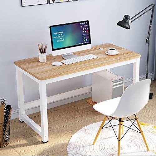 JIEJIELL Escritorio de Oficina Estudio,Moderno Estilo Minimalista PC Desk con Esquina Redondeada,Robusto Mesa de Ordenador PC para Casa Oficina-Blanco 100x70x74cm