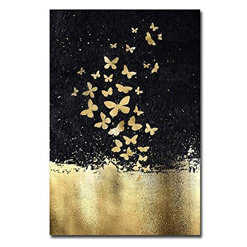 Gold und Schwarz Nordische Malerei Künstlerische Leinwand Kunst Poster Wandkunst Bild für Wohnzimmer 70x90cm Mit Rahmen Golden