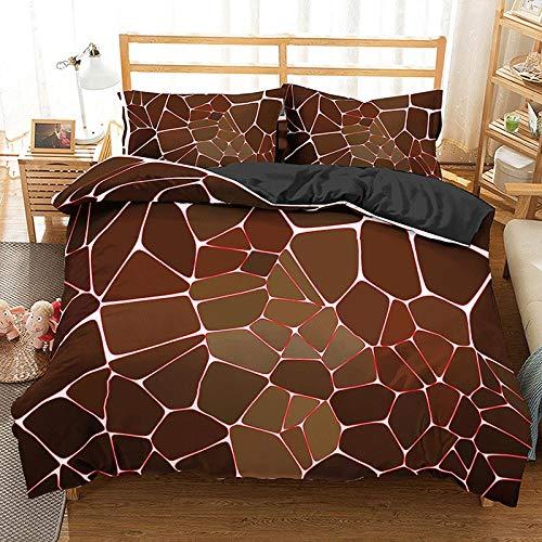 HGFHGD 3D-Bettwäsche-Set für Kinder und Erwachsene, geometrisches Muster, 3-teiliges Set