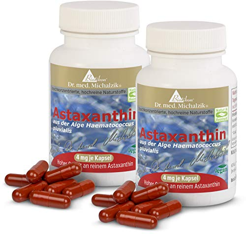 Astaxanthin nach Dr. med. Michalzik - 100% pflanzlich - 400 mg Algen-Extrakt aus Haematococcus pluvialis 4 mg reines Astaxanthin (mit HPLC-Analyse gemessen) je Kapsel- 120 vegane Kapseln - ohne Zusatzstoffe - von BIOTIKON®
