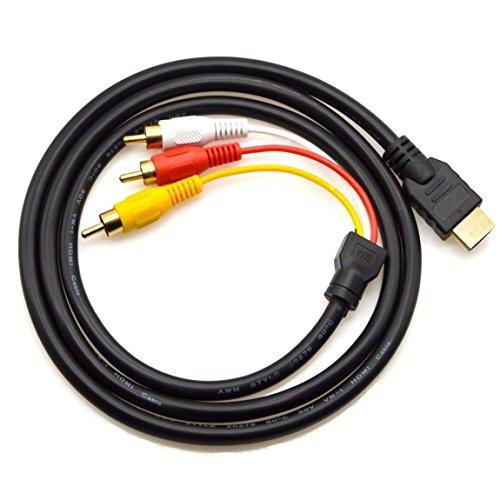 HDMI vers RCA câble 1.5 m HDMI mâle vers 3RCA vidéo Audio AV Component câble Adaptateur convertisseur pour HDTV DVD de PC et la Plupart des projecteurs LCD (ne Pas pour PS4) (Noir)
