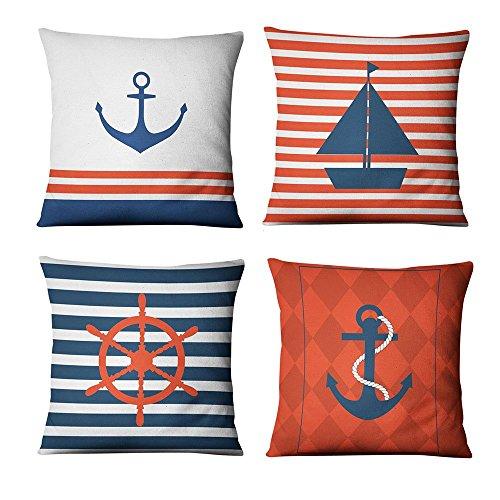 WMWZ Ozean Schiff Segelboot Anchor Design Baumwolle Überwurf Kissen Case Soft Bettwäsche Kissenbezug Für Sofa 45 X 45 cm