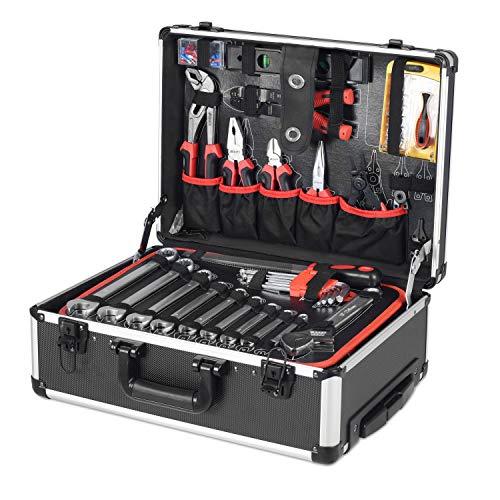 Ribelli 192-teiliger Werkzeugkoffer im Aluminiumkoffer – rollbar mit Teleskopgriff – mit Hammer, Maßband, Säge, Messer, Schraubendreher, Knarre mit Nüssen, etc. – schwarz, kompakte Maße