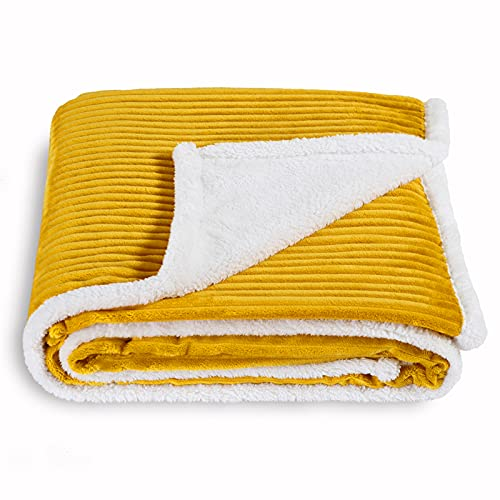 SOCHOW Sherpa Fleece Throw Blanket, Super Soft Fluffy Warm Stripe Plush Blanket for Sofa Couch Bed 60 x 80 Inches, Mustard Yellow
