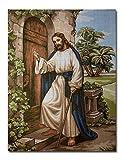 Hudemas Gobelin Stickbild Stickpackung Der Besuch von Jesus halber Kreuzstich 30x40cm. inkl. Sticktwist cod.105