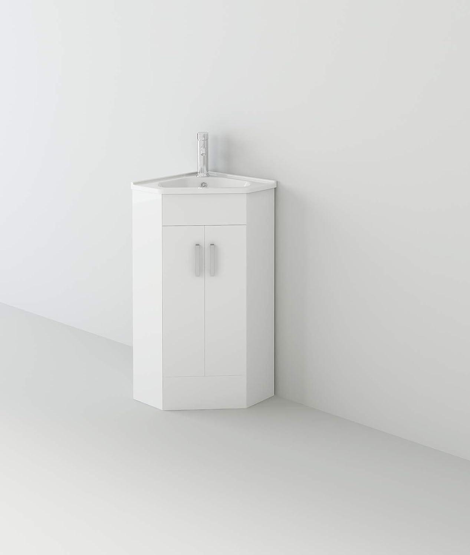 Veebath Linx Bathroom Cloakroom Corner Basin Vanity Cabinet Unit High Gloss Double Door White Sink Furniture 500 X 470mm Homebathroom Amazon Co Uk Home Kitchen