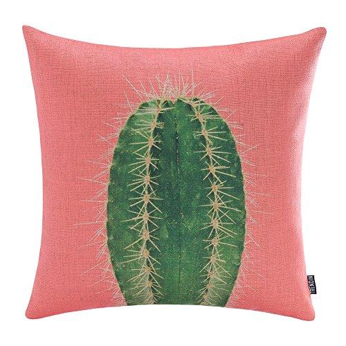 TRENDIN 18' X 18' Vintage Pink Color Green Cactus Tropical Summer Plants Linen Pillow Case Cushion Cover Decorative(PL068TR)