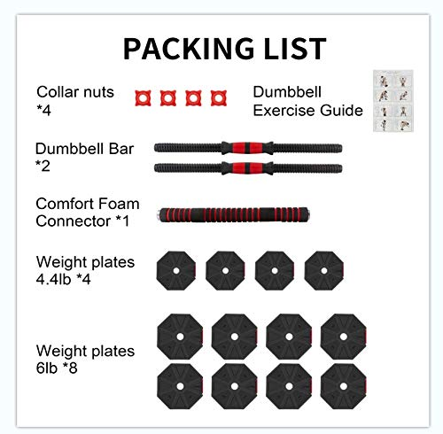 BIERDORF Adjustable Dumbbells Barbells 2 in 1 66lbs for Home Gym Office Free Weights Dumbbells Set for Body Fitness and Exercise Training
