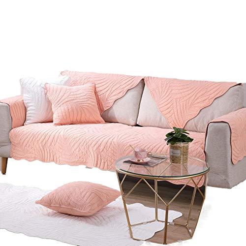 HXTSWGS Moderno algodón Gris Antideslizante sofá sillón Funda Protectora reposabrazos en Forma de L Esquina seccional sofá Toalla-Pink_70x140cm 27x55in