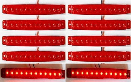10 x 12 V longues LED Face arrière Rouge Feux de gabarit ampoules Camion de voiture Bus socle basculant pour caravane Camper Van