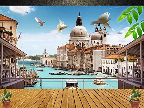 Personalizado Cualquier Tamaño Europeo 3D Ventana estéreo Ciudad Paisaje Tv Fondo Etiqueta de la pared Plantilla Decoración para el hogar Wallpaper Mural