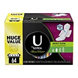 U by Kotex CleanWear Ultra Thin Pads with Wings, Heavy Flow, Unscented, 64 Count