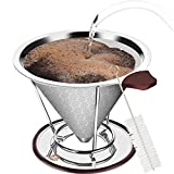 Vencino Pour Over Coffee Dripper, Reusable Stainless Steel Pour Over Coffee Filter, Slow Drip Black Coffee Maker With Cup Stand and Brush, For Chemex and Most Coffee Pot, Tumbler, Mug