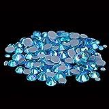 Hot Fix Piedras de diamantes de imitación y cristales Strass Adhesivo con pegamento en la parte posterior de hierro en gemas para ropa-30 aguamarina AB, SS40 144PCS