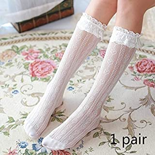 QHKS Medias 1 par Nuevo cordón Lovely Girls Calcetines Suaves Mujeres Dulce Calcetines Blancos StockingsKnee Alta Rodilla Calcetines Altos (Color : White Long Section)