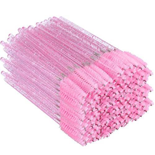 300PCS Crystal Eyelash Mascara Brushes Wands Applicator Makeup Kits (Pink)