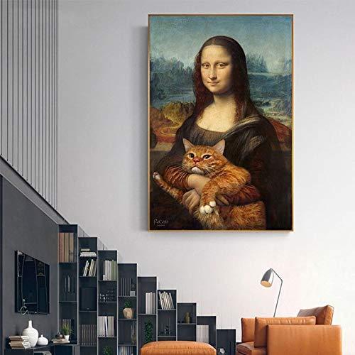 Frameloze schilderij Woondecoratie Canvas schilderij Beroemde mensen Knuffel Kat Foto Wall Art Prints Nordic StyleZGQ362 30x40cm