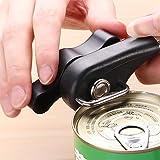 Vegena - Abrelatas manual de seguridad, abrelatas profesional de acero inoxidable con antideslizante ergonómico para diestros y zurdos, color negro Negro