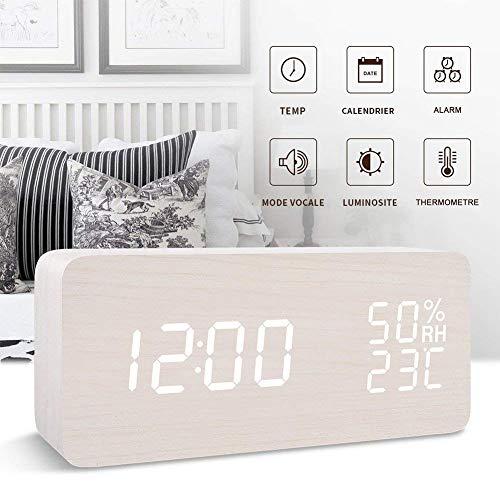 FONCBIEN Reloj Despertador Digital, Indicador De Temperatura De La Fecha Pantalla Led Reloj De Madera, Control De Voz De Brillo De 3 Niveles, 3 Configuraciones De Alarma