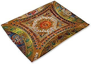 National Style Table Pads Sun Moon Pattern Western Food Mat Decoration Coasters Cotton Linen Heat Insulation Placemats (9)