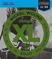 【 並行輸入品 】 D'Addario (ダダリオ) EXL117 Nickel Wound エレキギター 弦, Medium Top/Extra-Heavy Bottom, 11-56