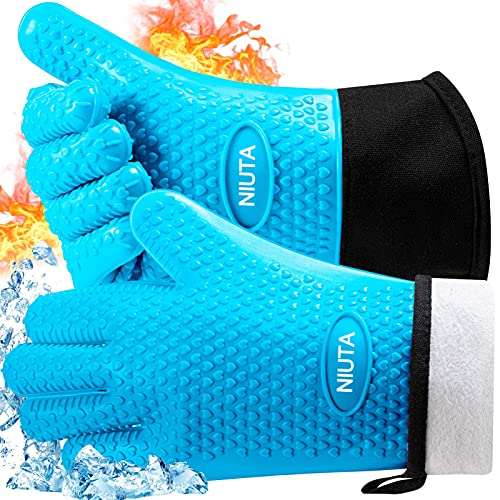 Professional Grilling Gloves BBQ Gloves, Heat Resistant Silicone Oven Gloves , Long Sleeve...