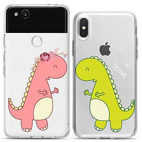 Cavka TPU Matching Couple Cases for Google Pixel 4 XL 3 XL 3a XL 2 XL New Cover 2019 Hug Me Clear Dinosaur Love Lovely Adorable Flexible Best Silicone Cover Love Cute Print Art Mate Teen Kids Girl