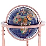 KALIFANO Large Gemstone Globe with Vibrant Polished Lapis Ocean and Mosaic Gem Continents on 37' Ambassador Antique Copper 3 Leg High Stand - World Globe with Floor Stand Office Decor