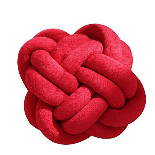Cojín de nudo suave creativo, almohada de bola anudada para el hogar, sofá, oficina, almohada, almohada para dormir de bebé, decoración de almohadas, rojo