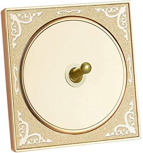 Beapet 86 Tipo Antiguo Brass Interruptor Panel Vintage Grabado Golden Wall Interruptor Hotel Restaurante Luz de Luz Hogar Soltero o Doble Control Interruptor de Palanca (Color : 1 Gang 2 Way)