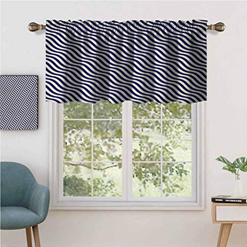 Hiiiman Indoor Home Curtain Valance Panel Wave Like Striped Lines Design on Dark Blue Background, Set of 2, 42'x24' for Bathroom and Cafe