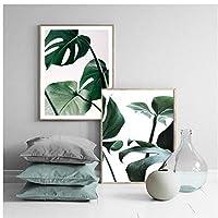 Muzimuzili緑の葉植物アートキャンバス絵画モンステラ植物のポスターとプリントアート壁の写真リビングルームの家の装飾-40X50Cmx2Pcs非フレーム